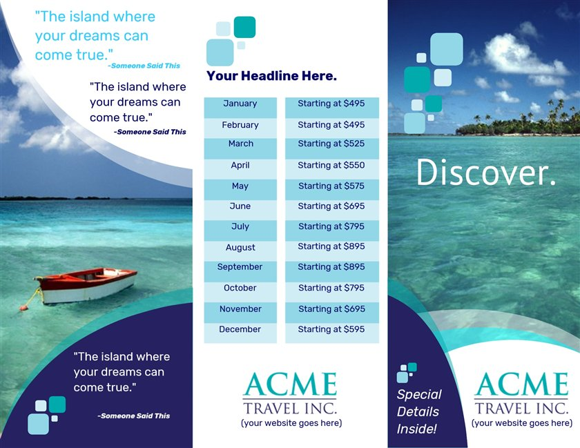This is a picture of Astounding Printable Travel Brochures