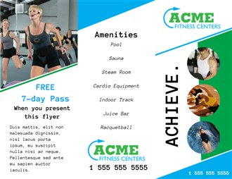 free brochures for sports fitness creative center