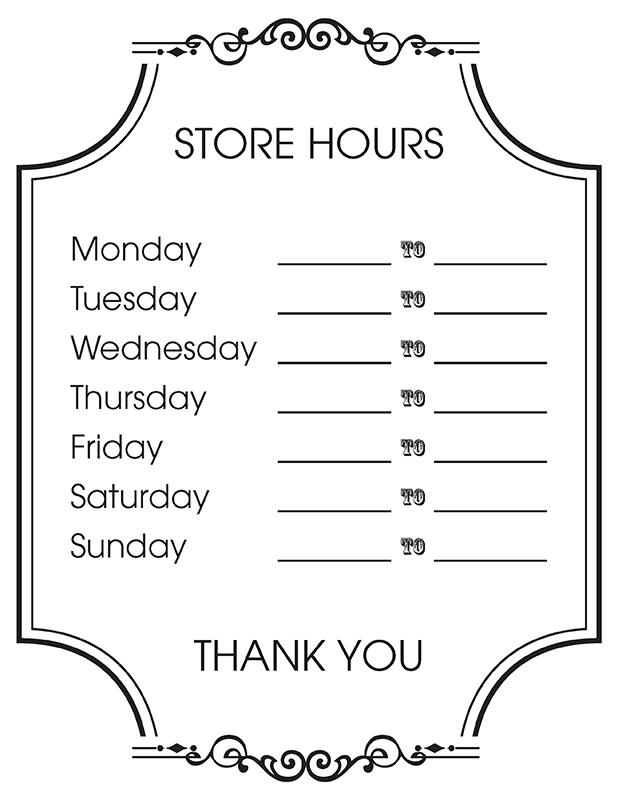 Free printable store hours sign creative center store hours sign cheaphphosting Image collections