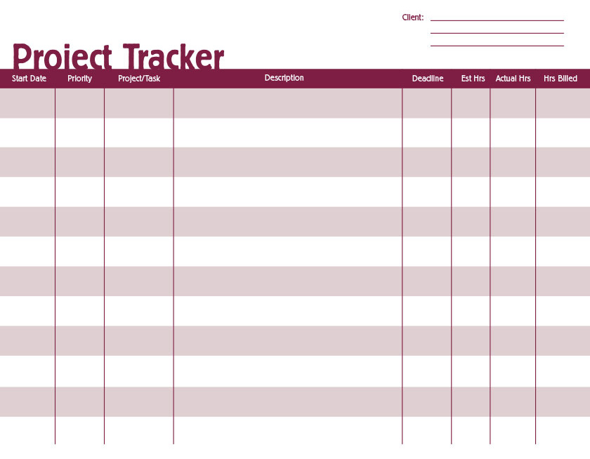 free printable project tracker creative center
