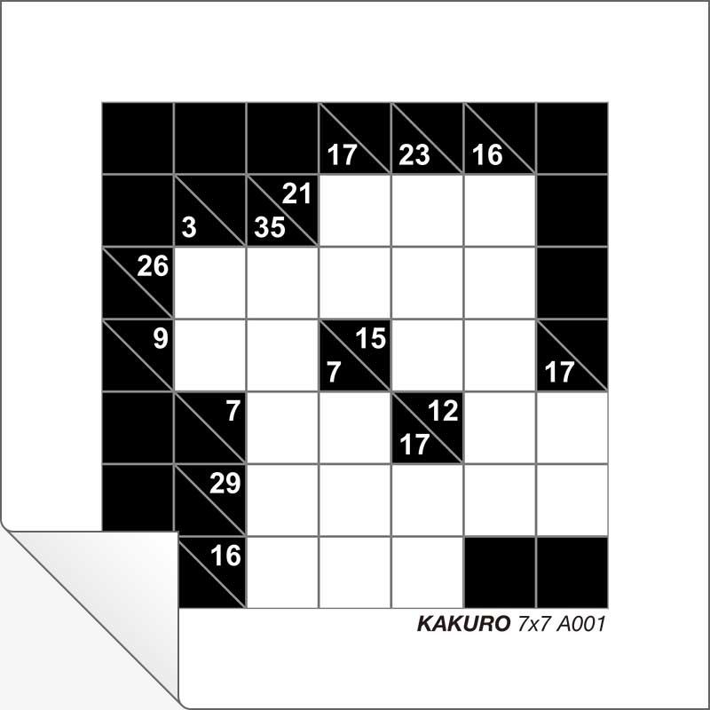 image relating to Kakuro Printable named Cost-free Printable Kakuro 7x7 A001 Innovative Middle