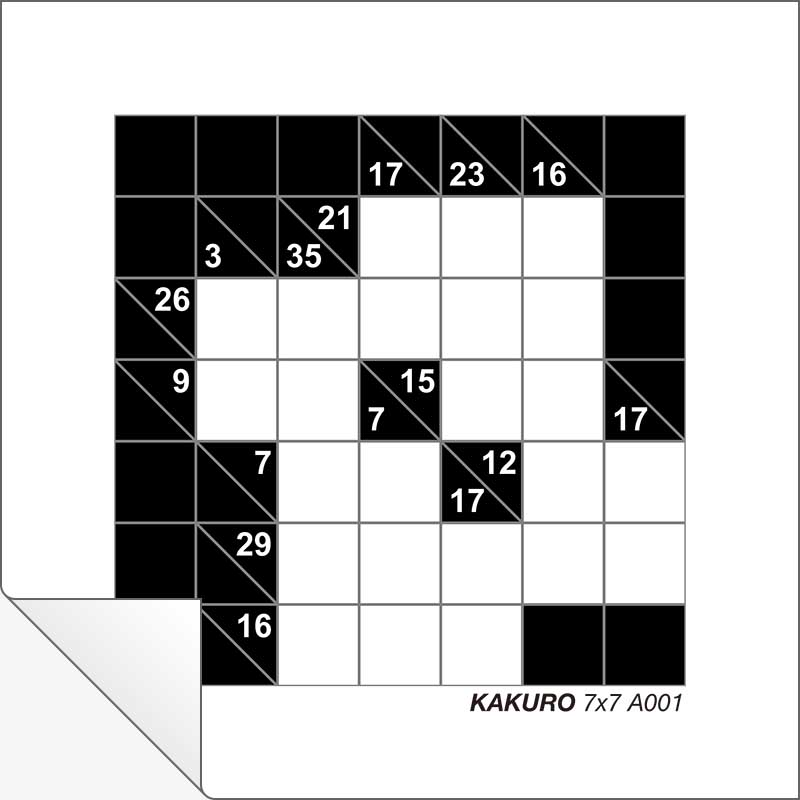 photograph about Kakuro Printable named Totally free Printable Kakuro 7x7 A001 Resourceful Heart