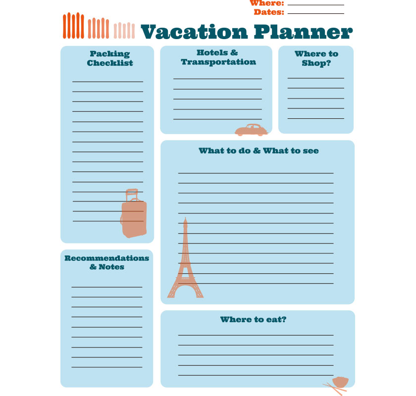 photo regarding Free Printable Vacation Planner named Absolutely free Printable Trip Planner Inventive Heart