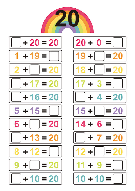Free Printable Number Bonds For 20 Creative Center