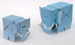 Papercraft de dos elefantes con movimiento. Manualidades a Raudales.