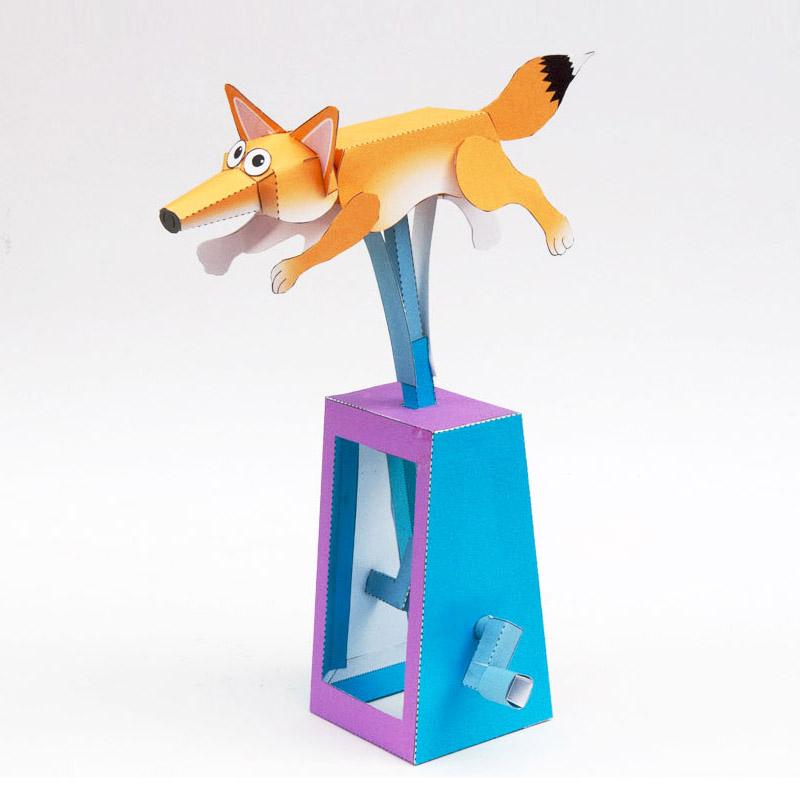 Papercraft de un zorro con movimiento. Manualidades a Raudales.