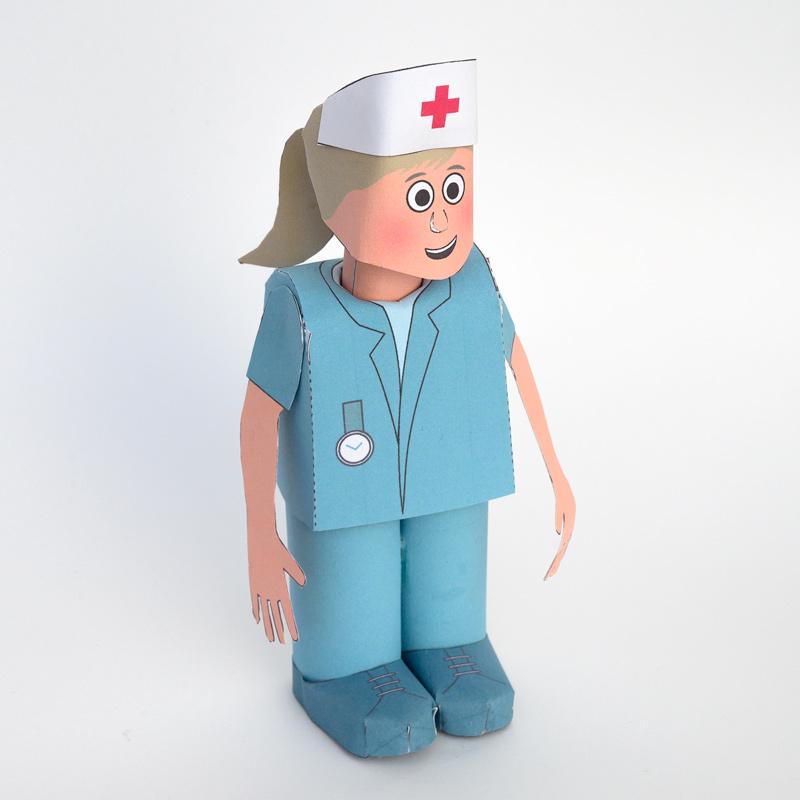 Papercraft recortable de una enfermera / nurse. Manualidades a Raudales.