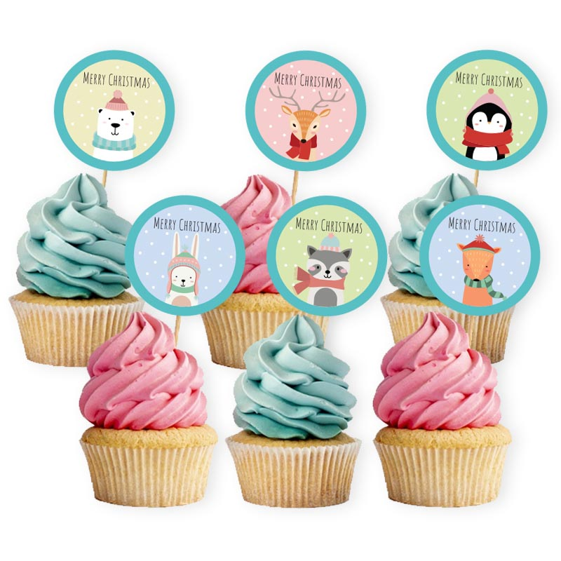 Christmas Animals Cupcake Toppers