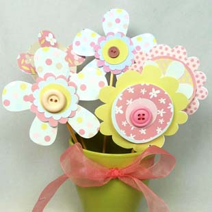 Mother's Day Button Layered Flowers