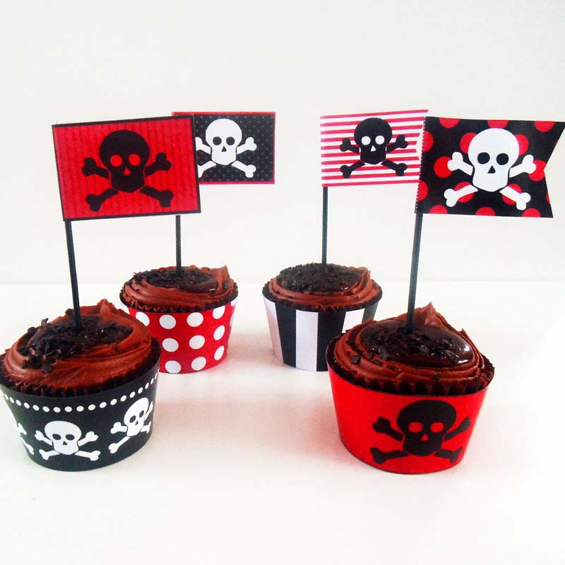graphic relating to Pirates Printable Schedule titled Absolutely free Printable Pirates Bash Cupcake Innovative Centre